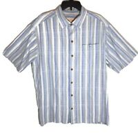 Tommy Bahama Short Sleeve button Down Shirt L Plaid silk cotton