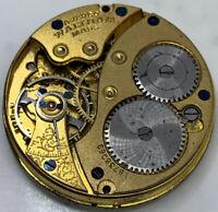 Waltham Grade 160 Pocket Watch Movement 0s 7j Model 1907 hunter parts F3327