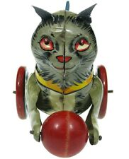 Vintage Marx Mysterious Kitty Mechanical Tin Litho Mystery Cat Wood Ball Works