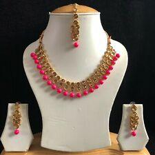 FUCHSIA GOLD POLKI KUNDAN INDIAN JEWELLERY NECKLACE EARRINGS CRYSTAL SET NEW 900