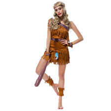 Indian Pocahontas Fancy Dress Adult Native American Costume Western Party Outfit