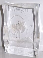 Vintage Lucite HAWAII Paperweight Reversed Carved Palm Trees Desk Souvenir