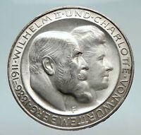 1911 Germany GERMAN STATES Wurttemberg w WILHELM II Antique Silver Coin i74491