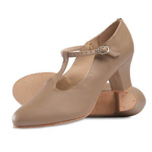 "So Danca CH54 T-Strap Leather Character Shoe, 2"" Heel, RUNS SMALL, Tan, NIB"