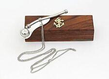 "5"" Brass Boatswain Whistle W/Box Bosun Call Pipe Silver Finish"