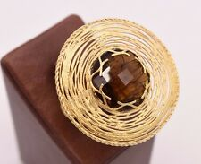 Size 6 1/2 Smoky Quartz Oval Filigree Ring 14K Yellow Gold Clad Silver 925