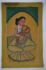 India Vintage Kalighat Painting GIRL playing MUSIC - BM011