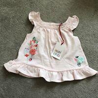 BNWT Boots Mini Club Baby Girls T-shirt Top 9-12 Months Pink Floral summer 9-12m