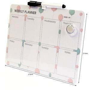 Magnetic Weekly Planner Home Office School Memo Board Organiser Dry Wipe Marker