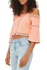 TopShop Women's Top Sz 10 Coral Cold Shoulder Cropped Cotton Delicate Lace NWT