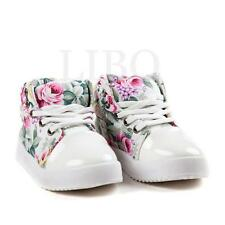 Baby Toddler Girl Floral Canvas Casual SNEAKERS High Top Lace up Soft Shoes Walk Beige 7