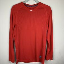 Mens Nike Pro Combat Red Shirt Fitted Dri Fit Long Sleeve Medium