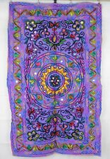 Embroidered Aari & Mirrored Stonewashed Traditional Floral Indian Wall Hanging