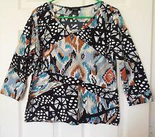 Kaktus Cute Embellished Knit Top L 3/4slv Vneck Black-Blue-White Tribal print