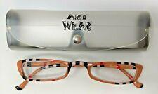 Art Wear Reading Eyeglasses Glasses RG816 +1.00 Peach Frames Stripes & Case