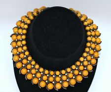 Vintage Mustard Yellow Graduated Bead Metal Rhinestone Accent Collar Necklace