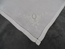Antique French Fine Whitework Embroidered Handkerchief - Monogram AB N°2
