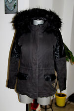 joli manteau fourré hiver à capuche bi matière noir IKKS taille M
