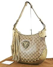 Auth GUCCI Brown GG Crystal Canvas and Leather Tote Shoulder Bag Purse #35953