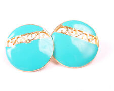 and Turquoise enamel Earrings Vintage 1960s Gold Tone