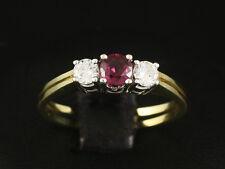 Zarter Rubin Brillant Ring ca. 0,66ct Goldschmiedearbeit  585/- Gelbgold