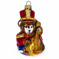 Teddy Bear Soldier with Guitar Glass Christmas Ornament