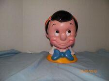 "Vintage 1971 Plastic Pinocchio Large 10"" Head Bank w/Stopper Play Pal Plastics"