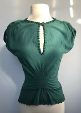 YVES SAINT LAURENT Rive Gauche Detailed Green Cap Sleeve Blouse Shirt Size Small