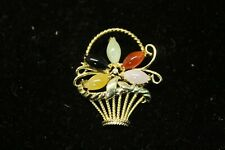 in a Basket with Small Diamond Pin 14K Yellow Gold Pin 5 Stones Flower Design