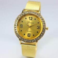 Ladies Fashion Gold Tone Geneva Quartz & Rhinestone Gold Mesh Band Wrist Watch.