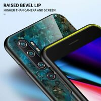 For Xiaomi Mi Note 10 Pro, Hybrid Marble Tempered Glass Case Soft Bumper Cover