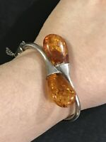 "Vintage Antique Sterling Silver Amber Cuff Bangle With Safety Chain 7"" Wrist"