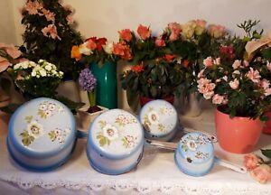 4 RARE antique enameled french saucepans blue gradient & flowers hand paint 1920