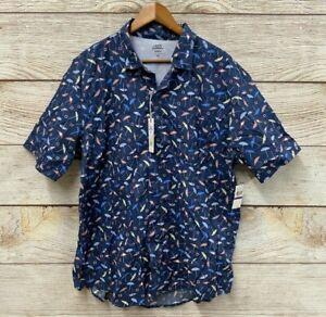 IZOD Saltwater Performance Shirt Mens Size 2XL Blue Beach Umbrella Shirt New