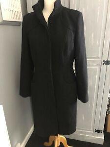 ladies longline black dress coat
