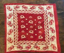 Vintage Antique Early Turkey Red unusual design Cotton Bandana lg size