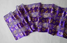 NEW Fleur De Lis Womens Beautiful Scarf Polyester Purple Gold 60 x 12.5 inches