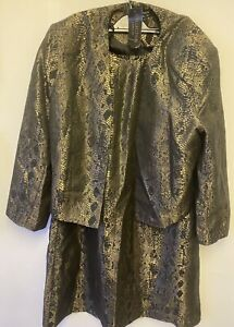 Brand New Size 14 2 piece suit dress (blazer and dress) Gold/black Animal Print