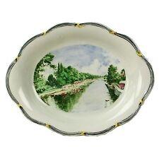 Spencer Edge Hand Painted Oxford Thames Barges Vintage Oval Souvenir Dish