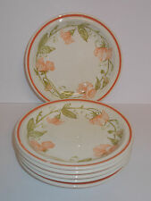 6 x Grindley Side Plates Cake Plates 17cm Peach Floral Design Lovely