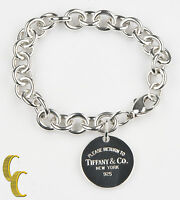 "Tiffany & Co. Sterling Silver Round ""Return to"" Tag Charm Bracelet Ret=$300"