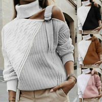 Women Turtleneck Sweater Pullover Long Sleeve Off Shoulder Colorblock Knit Tops