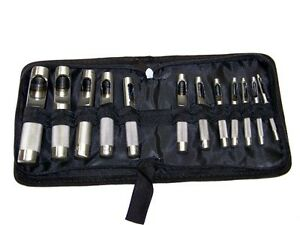 12 PC HOLLOW PUNCH SET CUTS HOLES IN LEATHER PLASTIC RUBBER GASKET VINYL PAPER