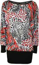 Viscose Animal Print Long Sleeve Tunic Tops & Blouses for Women