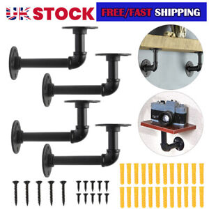 6Pcs Pipe Shelf Brackets Industrial Iron Rustic Wall Floating Shelves Supports