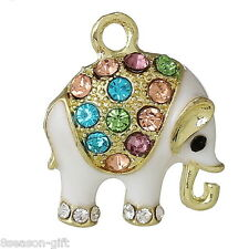 10PCs Charm Pendants Elephant Gold Plated Multicolor Rhinestone Enamel White