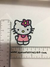 Iron on Patches Hello Kitty Cat Pink 6.5cm x 5.5cm Sew Applique Embroidered