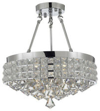 Semi-Flush Mount French Empire Crystal Chandelier, Chrome