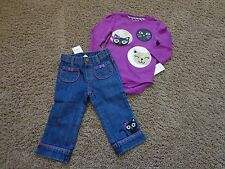 GYMBOREE sz 12-18 months NWT purple glitter kitty face outfit bodysuit & jeans