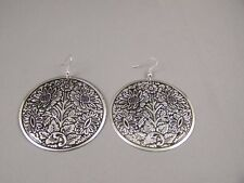 """Black Silver stamped Big round textured dangle circle earrings 2.75"""" long"""